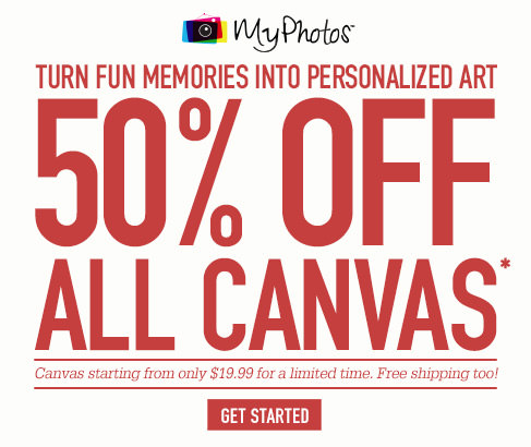 MyPhotos. Turn fun memories into personalized art. 50% OFF ALL CANVAS*. Canvas starting from only $19.99 for a limited time. Free shipping too!. Get Started.