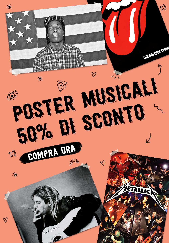 POSTER MUSICALI 50% DI SCONTO. COMPRA ORA