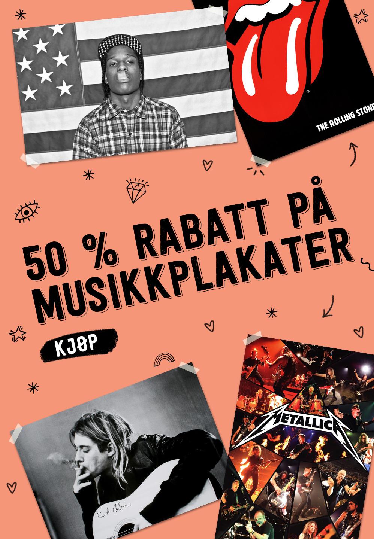 50 % RABATT PÅ MUSIKKPLAKATER. KJØP