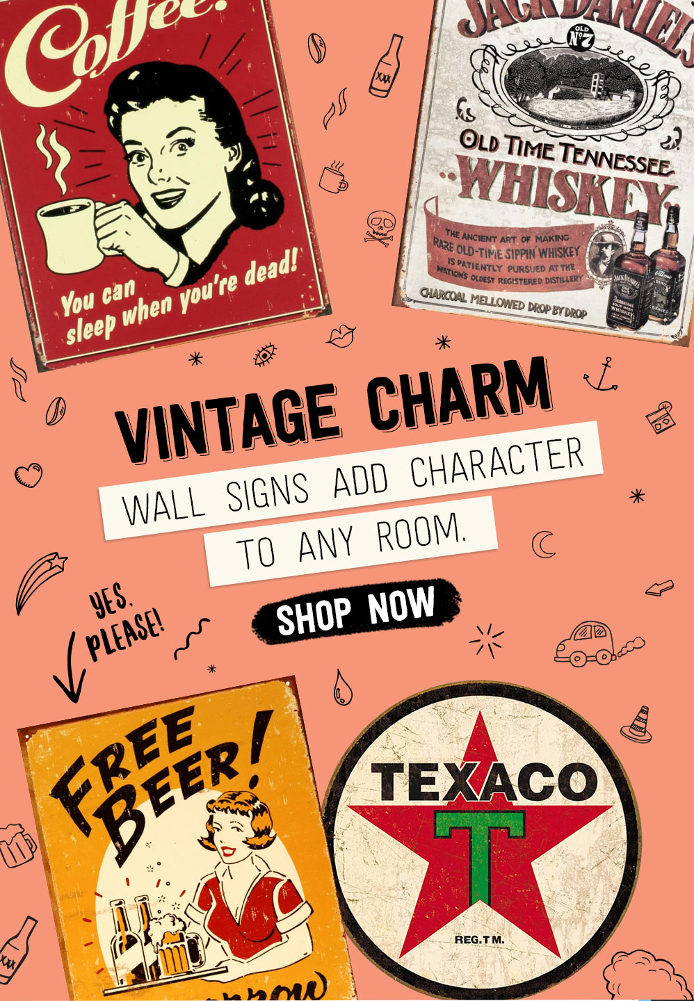 VINTAGE CHARM. Wall signs add character to any room. Shop Now