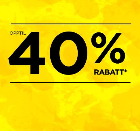 Opptil 40 % rabatt*. KJØP NÅ. *Tilbudet gjelder fra 22.–25. juni 2016.