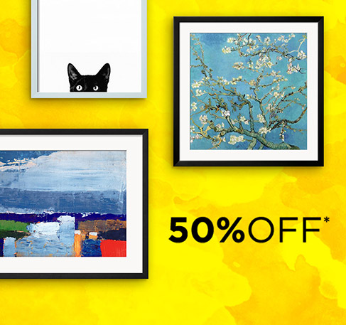 All framing at 50% off*. SHOP NOW. Coupon Code : FRASS16 | *Offer available from June 26th to July 2nd 2016