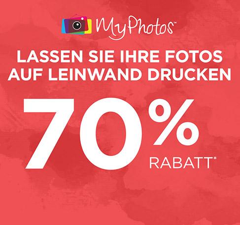 LASSEN SIE IHRE FOTOS AUF LEINWAND DRUCKEN MyPhotos 70 % Rabatt*. JETZT GESTALTEN. *Gutscheincode: PHOTO70. Angebot gilt vom 10. bis zum 23. Juli 2016