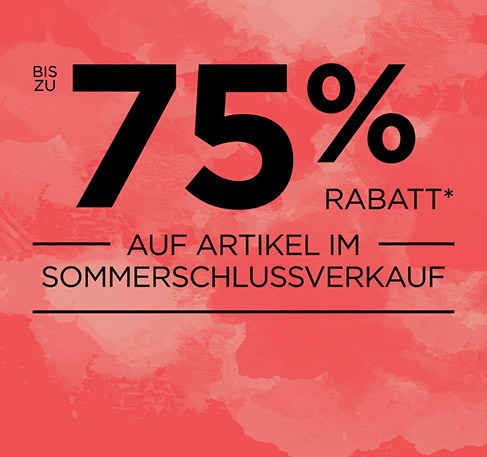 Bis zu 75% Rabatt auf Artikel im Sommerschlussverkauf. * JETZT ENTDECKEN. *Angebot gilt vom 24. bis zum 28. Juli 2016.