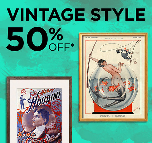 VINTAGE STYLE 50% off*. SHOP NOW. *Offer available from 24th to 26th July 2016