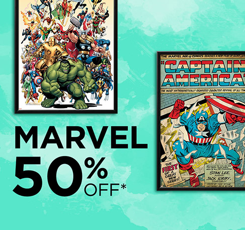 MARVEL 50% off*. SHOP NOW. *Offer available from 29th July to 2nd August 2016