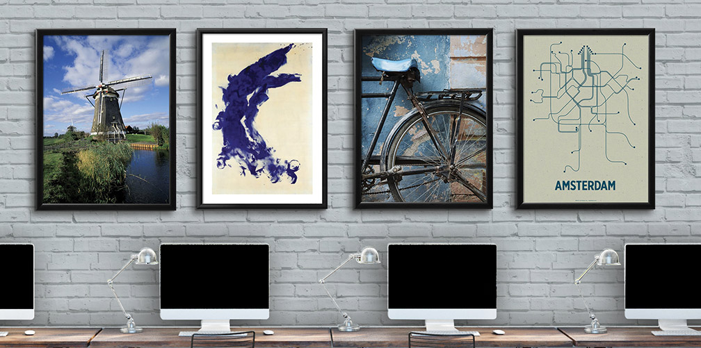 Framed abstract art prints in a business office. Office décor for your place of business.