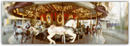 Carousel Horses in Amusement Park, Seattle Center, Queen Anne Hill, Seattle, Washington State, USA Photographie par Panoramic Images sur AllPosters.fr