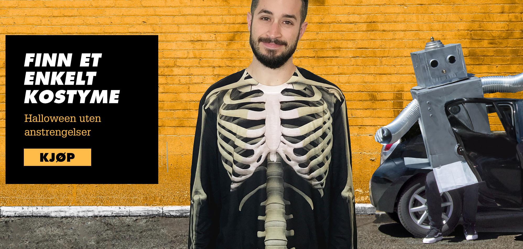 Finn et enkelt kostyme. Halloween uten anstrengelser. Kjøp