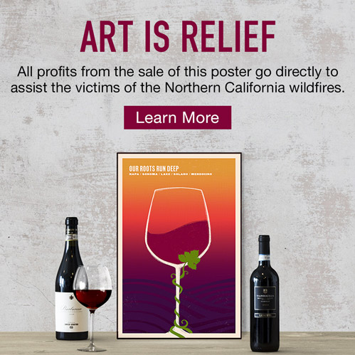Art is relief. All profits from the sale of this poster go directly to assist the victims of the Northern California wildfires.