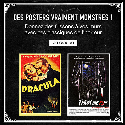 Des posters vraiment monstres ! Donnez des frissons à vos murs avec ces classiques de l'horreur. Je craque