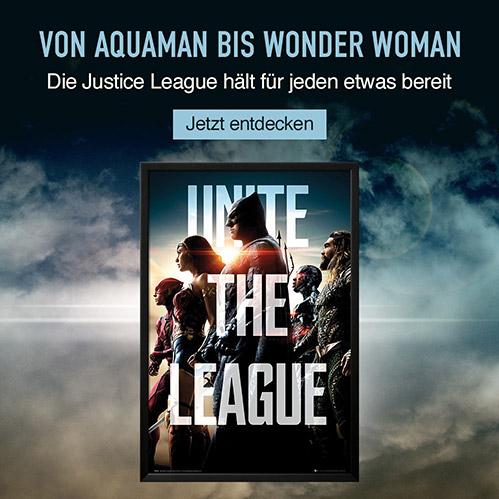 Von Aquaman bis Wonder Woman. Die Justice League hält für jeden etwas bereit. Jetzt entdecken