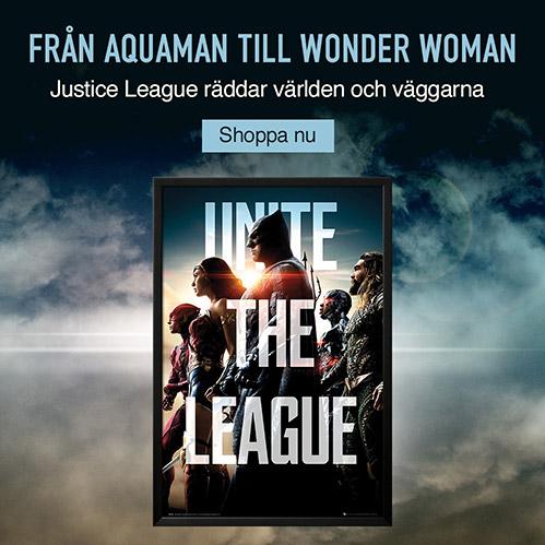 Från Aquaman till Wonder Woman. Justice League räddar världen och väggarna. Shoppa nu