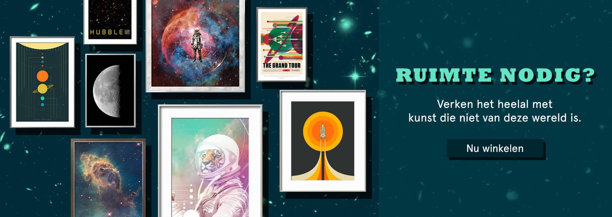 Ruimte nodig? Verken het heelal met kunst die niet van deze wereld is. Nu winkelen.